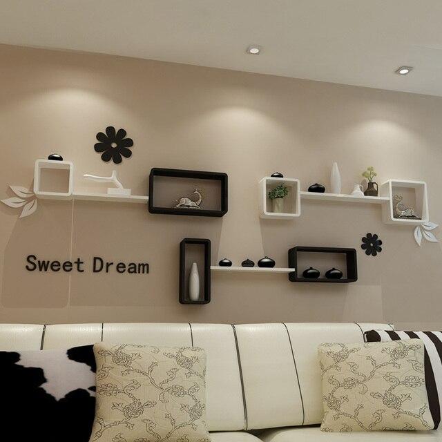 Ikea Living Room Tv Backdrop Decorative Wall Mount Rack Cabinet Clapboard Creative Lattice Shelf