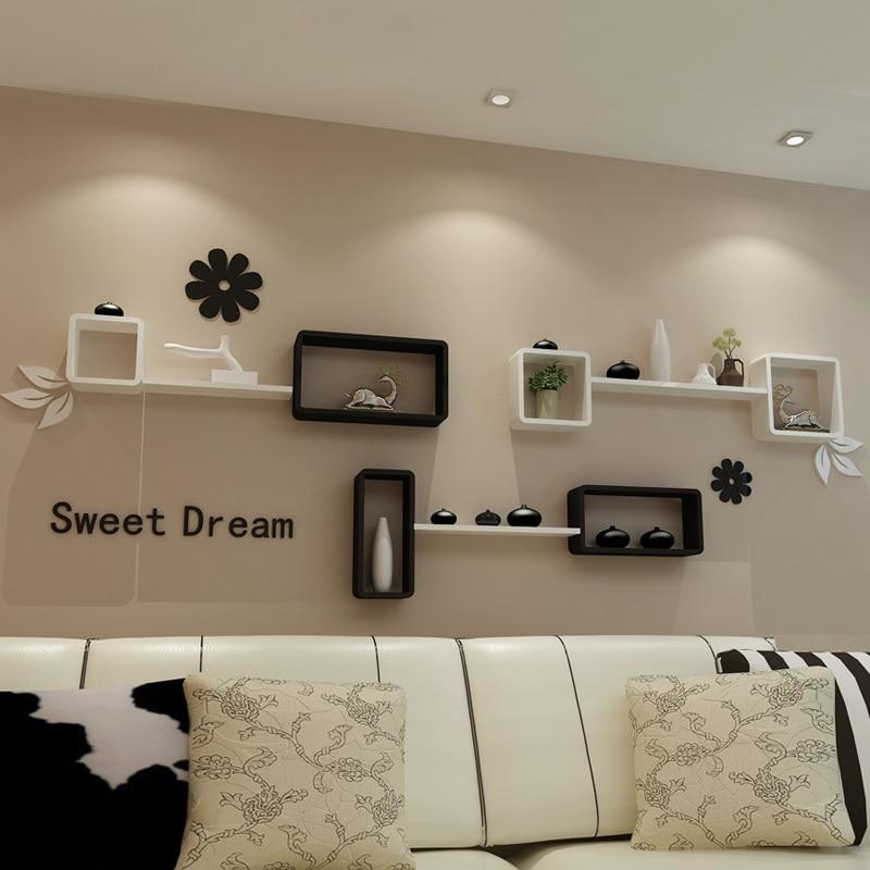 Ikea ruang tv latar belakang dekoratif dinding mount rak kabinet kreatif kisi berdinding papan rak dinding di putar pelat dari perbaikan rumah