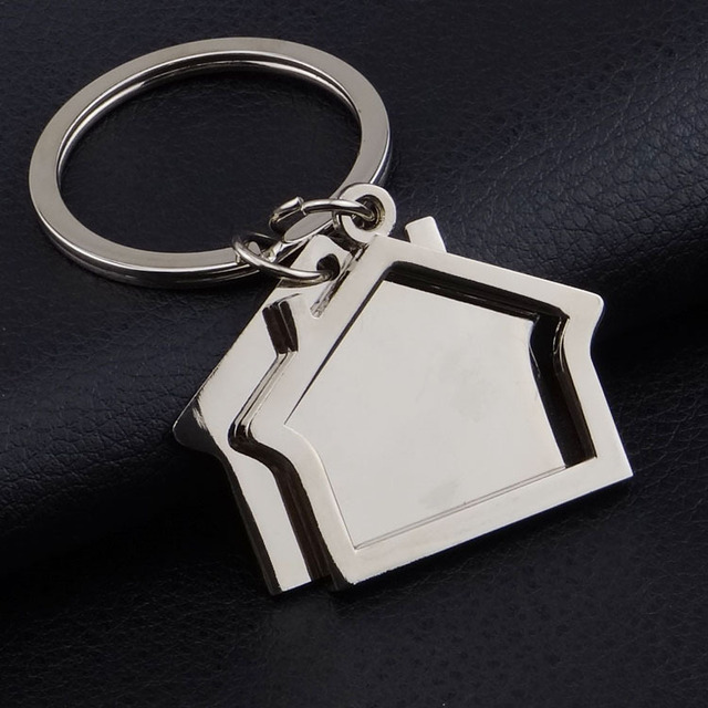 Free Shipping By Fedex 100pcs Lot 2016 New Spin House Shaped Keychains Metal Real Estate