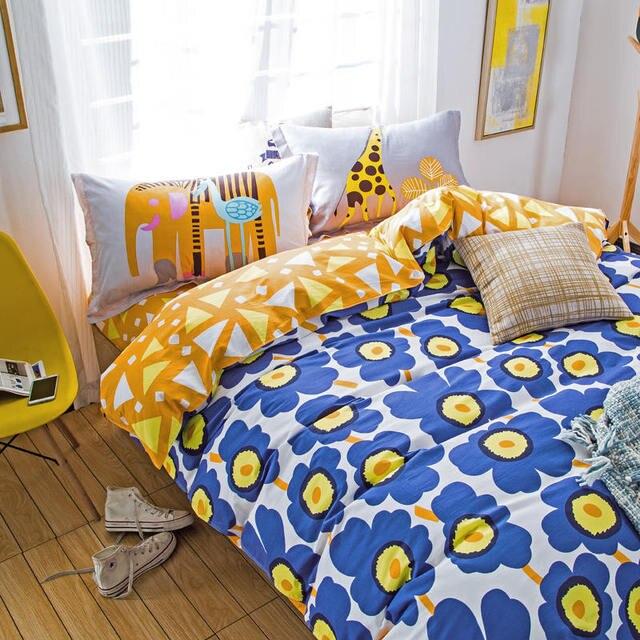 Blau Gelb Blume Garder Bettwäsche Kinder Mädchen 100 Baumwolle