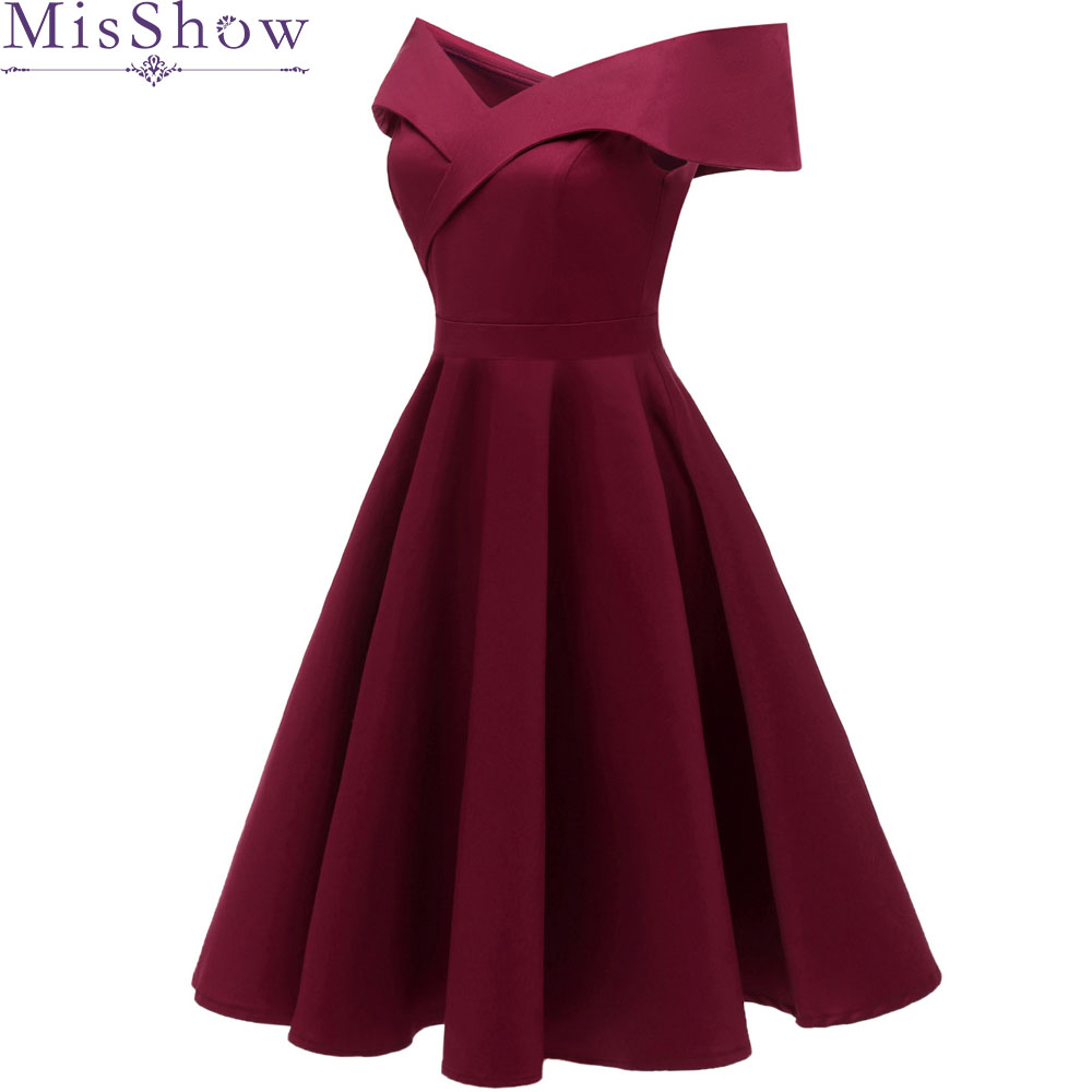 Simple   Cocktail     Dresses   A-Line Satin Elegant Women 2019 burgundy Short Vestidos Off the Shoulder Sexy Women   Cocktail     Dresses
