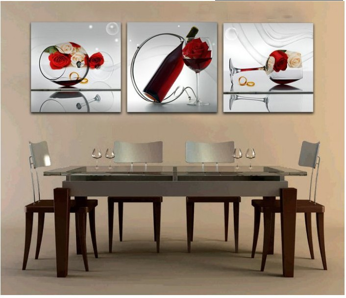 Aliexpresscom Buy free shipper 3 piece wall art dining room