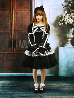Cotton Black Lace Bow Lolita Dress Outfit