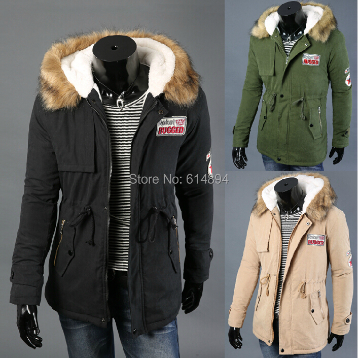 New winter plus velvet thick warm Hooded fur collar coat fashion lovers male and female models long section cotton jacket S-4XL new winter fur collar hooded drawstring waist plus velvet thick warm long section of peach coat big yards