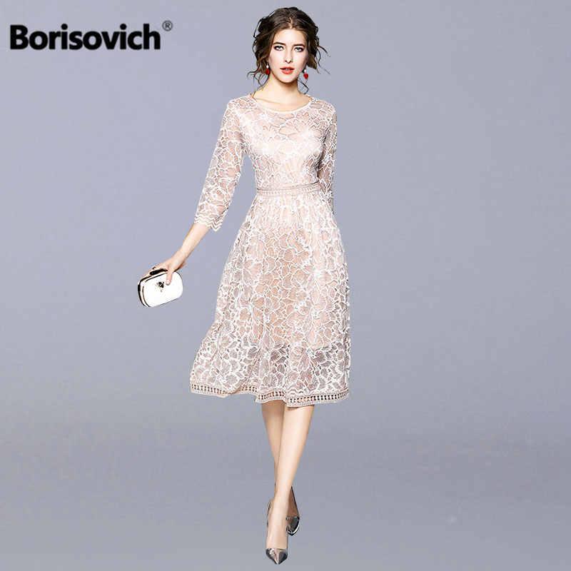 5496e848369 Borisovich Women Casual Dress 2018 Autumn New Arrival Fashion Elegant Slim  Bohemian Style Women Lace Patchwork