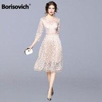 Borisovich Women Casual Dress 2018 Autumn New Arrival Fashion Elegant Slim Bohemian Style Women Lace Patchwork Party Dress Q377