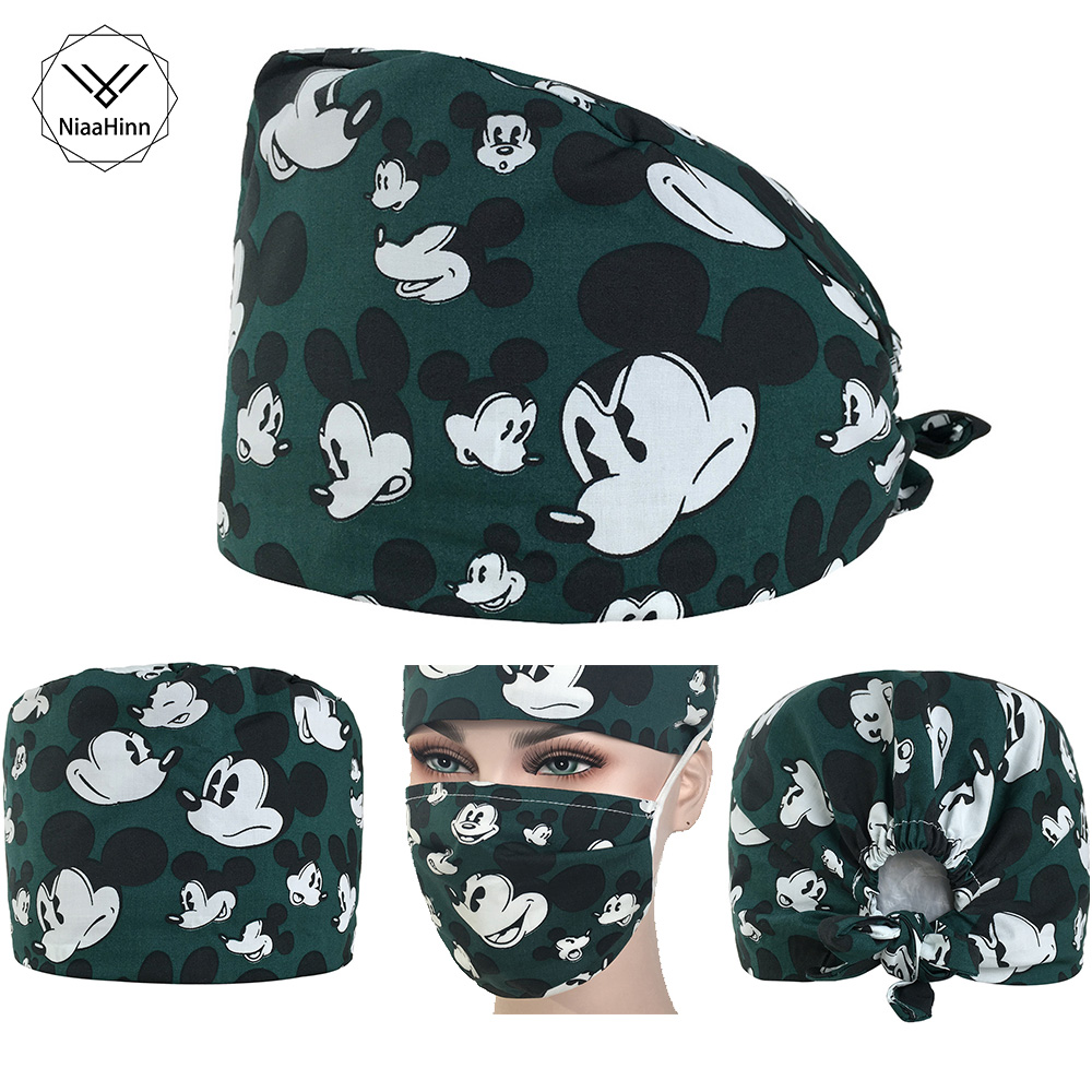 Hospital Cartoon Printing Medical Cap+Mask Beauty Salon Dental Clinic Pet Hospital Doctor Nurse Surgical Hat Medical Accessories