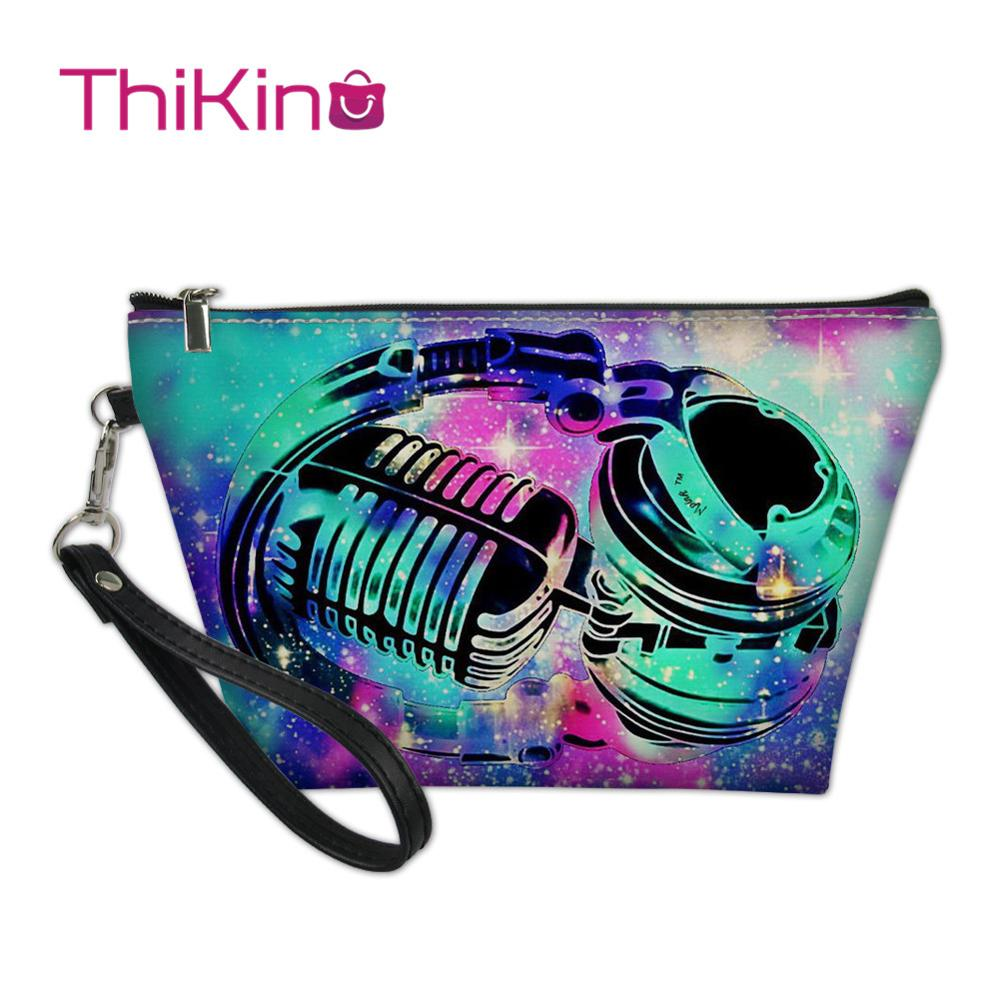 Thikin Rock Music Makeup Bags for Punk Women Girls Cosmetic Bag Travel Handbag Case Pouch Storage Purse