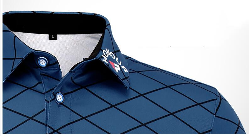PGM Men Golf Polo T-shirt Summer Short sleeves Breathable Quick Dry Plaid Golf Shirts Anti Sweat Mans Golf Sport T-shirt