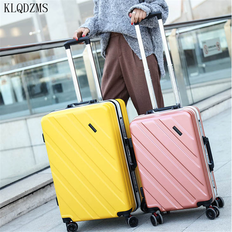 KLQDZMS 20/24inch High Quality PC Rolling Luggage Spinner Trolley Bags Aluminum Frame Travel Suitcase On Wheels