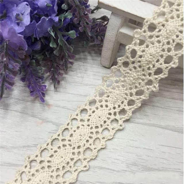 Hermoso diseño 12 m vendimia Encaje Telas DIY crochet apliques Crema ...