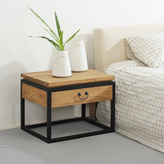 American Country Furniture Wrought Iron Wood Side Table Nightstand Phone Loft Upscale Coffee Bedside