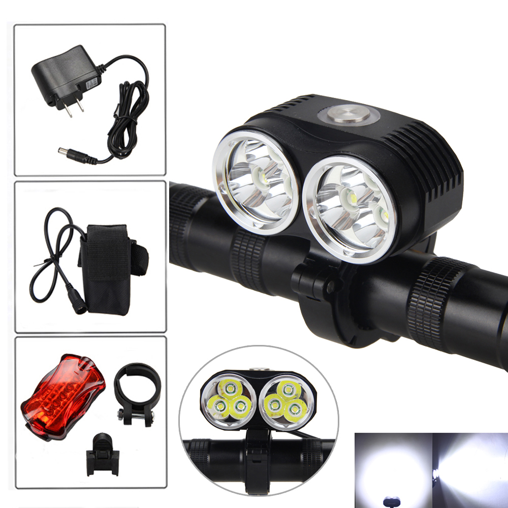 NEW 10000LM 6x XM-L T6 LED Front Bicycle Bike Light Flashlight Battery Cycling Led Headlight +Charger +Tailight 10000lm 6x xml t6 led front head bicycle bike front cycling light lamp head headlight black