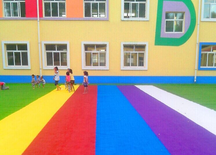 colorful synthetic turf for school playground