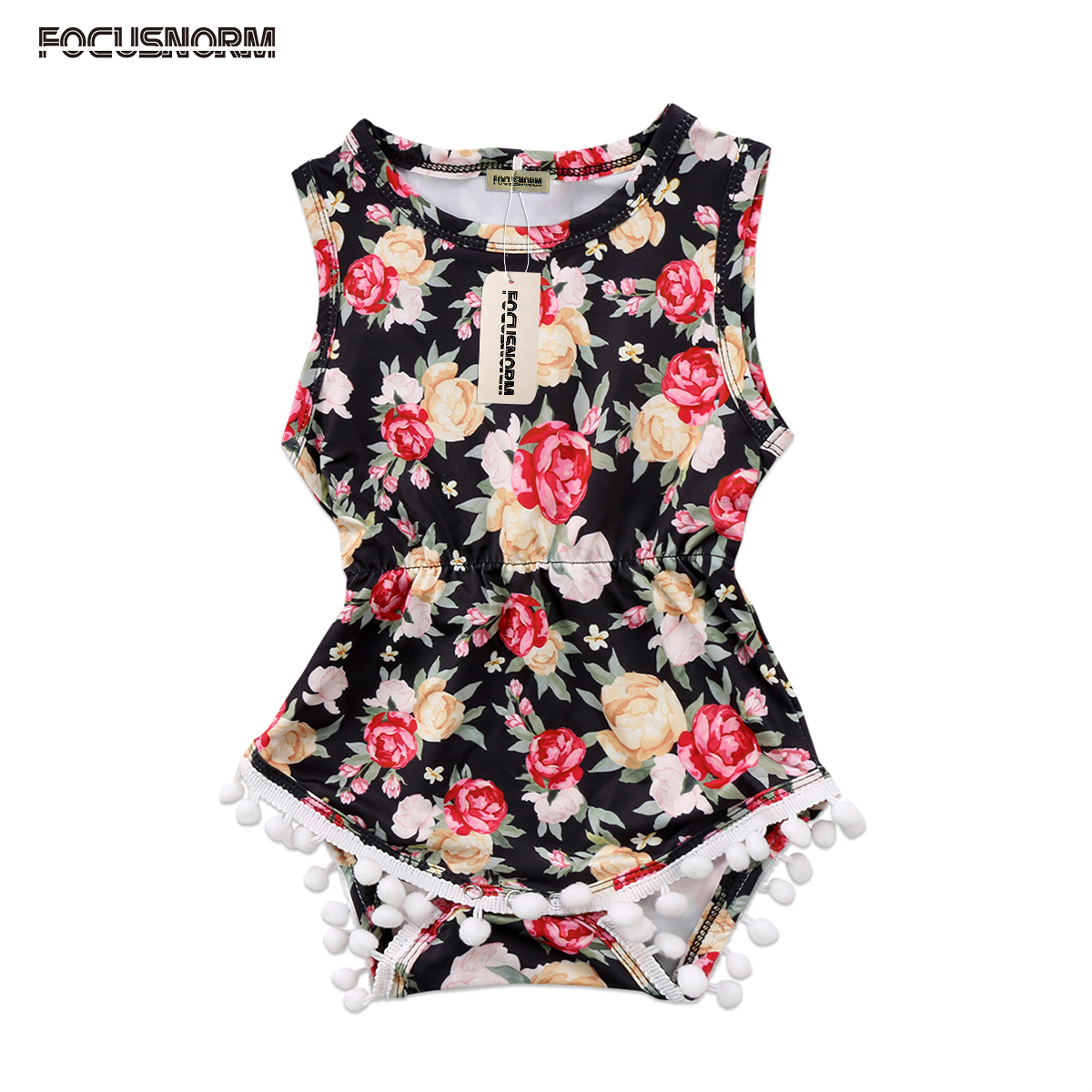 Newborn Infant Baby Girls Sleeveless Tassels Romper Floral Sunsuit Clothes Summer Outfits Set