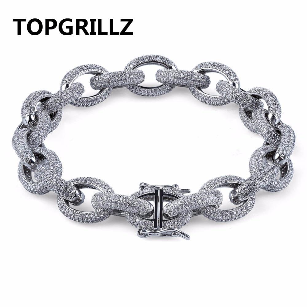 TOPGRILLZ Hip Hop Hommes Bracelet De Cuivre Or/Argent Couleur Plaqué Micro Pavée CZ Pierre Twisted et Ovale Lien Chaîne Bracelets