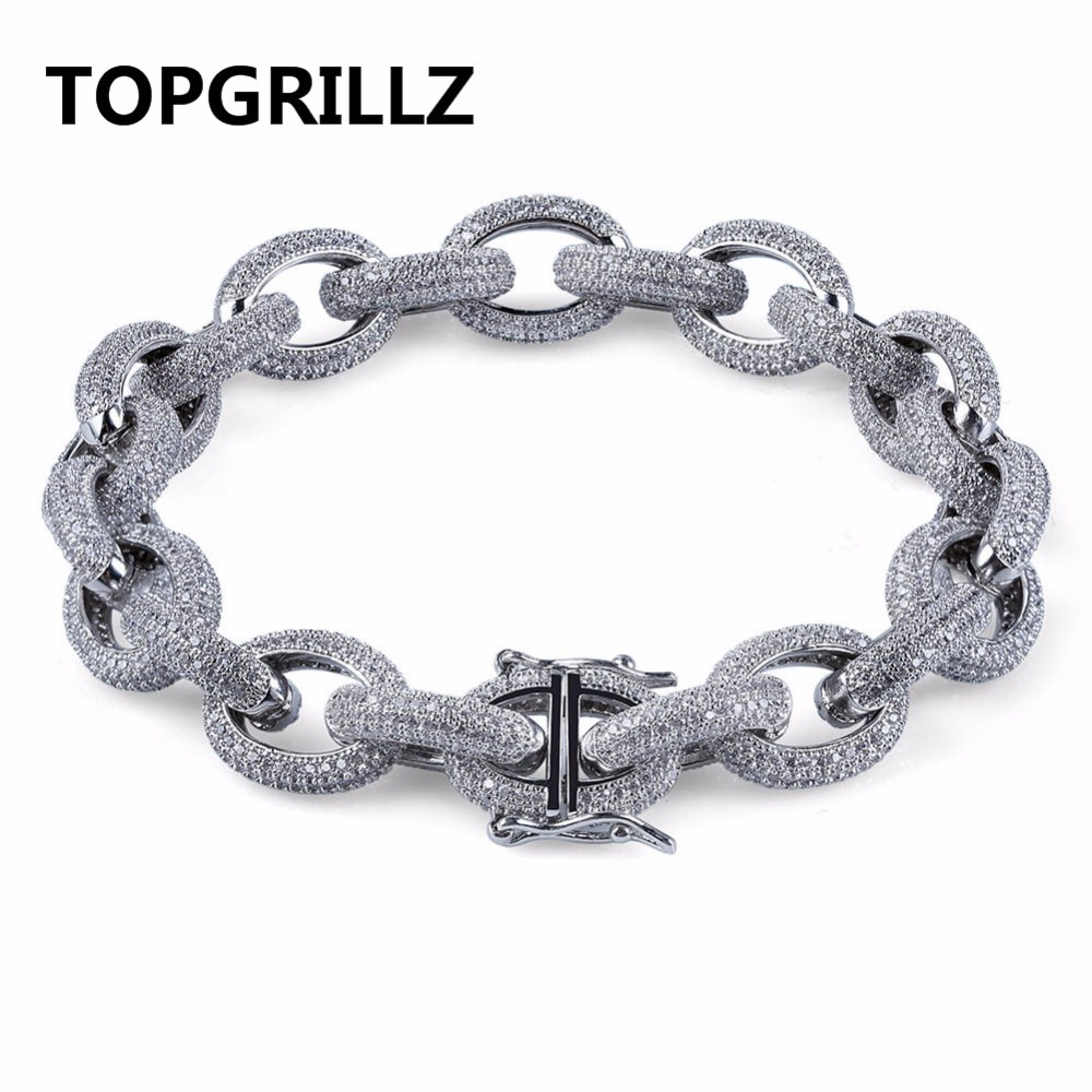 TOPGRILLZ Hip Hop Men Bracelet Copper Gold/Silver Color Plated Micro Paved CZ Stone Twisted and Oval Link Chain Bracelets 2017 factory rose gold color 100% 925 sterling silver black blue stone paved cute hamsa hand link box chain gold color bracelet
