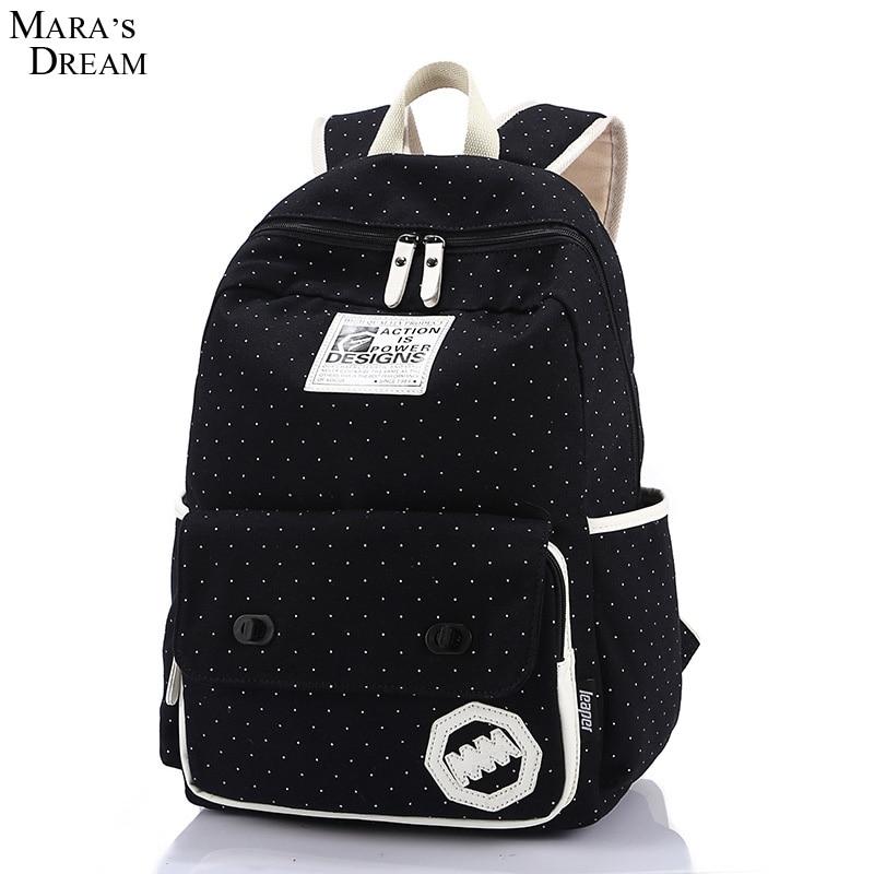Mara s Dream 2017 Canvas Backpacks Polka Dot Printing Hasps Double Zippers Canvas Women School Backpacks