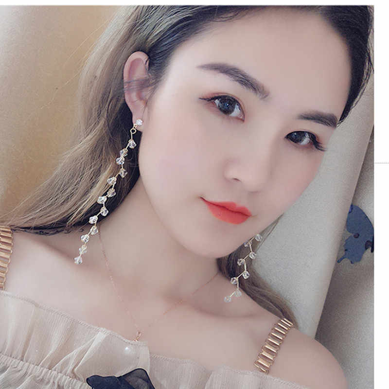 2018 Korean temperament long tassel earrings fashion wild crystal earrings personalized fine girl earrings