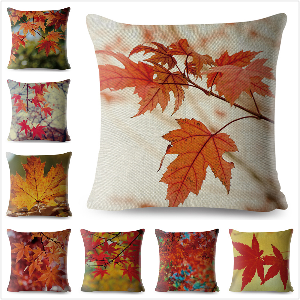 Autumn Maple Leaves Pillow Case 45*45cm Pattern Plant Cushion Cover Sofa Home Decoration Maple Tree Pillowcase