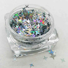 100/200g Holographic Four Point Stars Glitter,Holographic Silver Four Point Stars Shape Glitter 2mm ,4mm for nail art decoration four angle stars shape nail glitter sequins for nail art decoration makeup facepainting nail gel manual diy crafts decoration