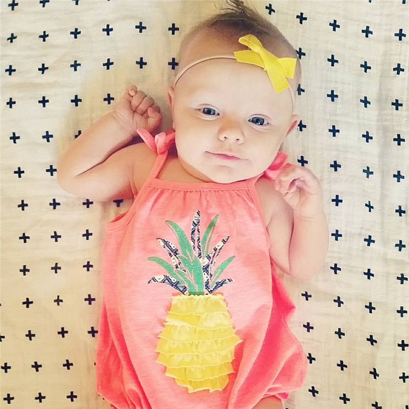 Lace Up Summer Baby   Rompers   Pineapple Printed Casual Basic Clothes Jumpsuit Outfit Clothes Headband