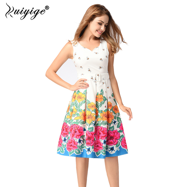 a35d254fbd08 Ruiyige 2018 Floral Bee Print Vintage Dresses Style 1950s Cute Party Dress  With Sashes Summer Dress Sleeveless Vintage Dresses