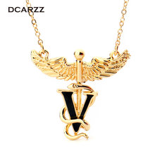 Caduceus Necklace Medical-Jewelry-Gift Pendant Chemistry with The-Snake-V-for Nurse/therapist