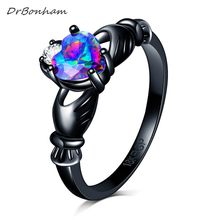 DrBonham Pelangi Opal Cincin Claddagh Perempuan colorful Jantung Mode Hitam Emas Diisi Vintage Wedding Rings Wanita anillo DR1724(China)
