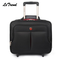 LeTrend New High Quality Nylon Travel Multi function Luggage Hand Trolley Men Boarding Suitcase Large Capacity Travel Luggage