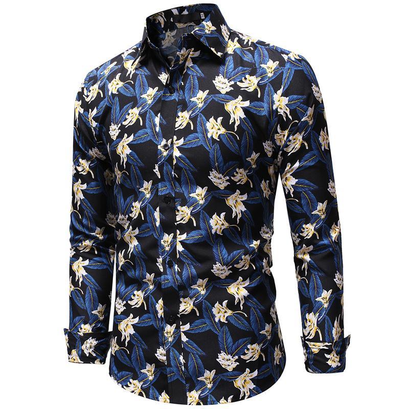Floral Print Hawaiian Shirt Men Casual Blouse Men Slim Fit Mens Long sleeve Shirt Blue Yellow in Casual Shirts from Men 39 s Clothing