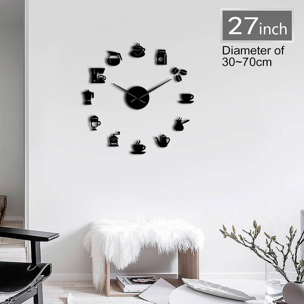 Coffee Signs 3D DIY Size Adjustable Wall Clock Modern Design Kitchen Clock Watch Quartz Acrylic Mirror Sticker Coffee Bean Clock