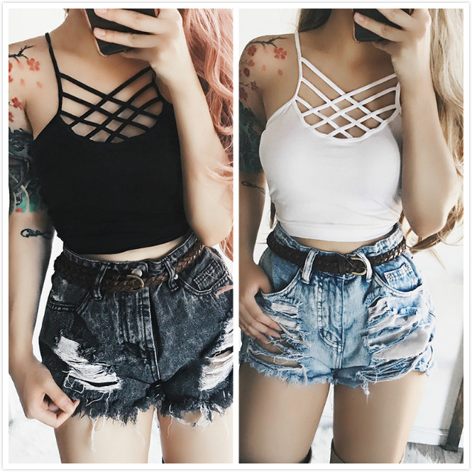 9537a5b3b73 Sexy Women Cut Out White Bra Bustier Crop Top Bralette Strappy Crochet  Cropped Blusas Bandage Halter Tank Tops Camisole