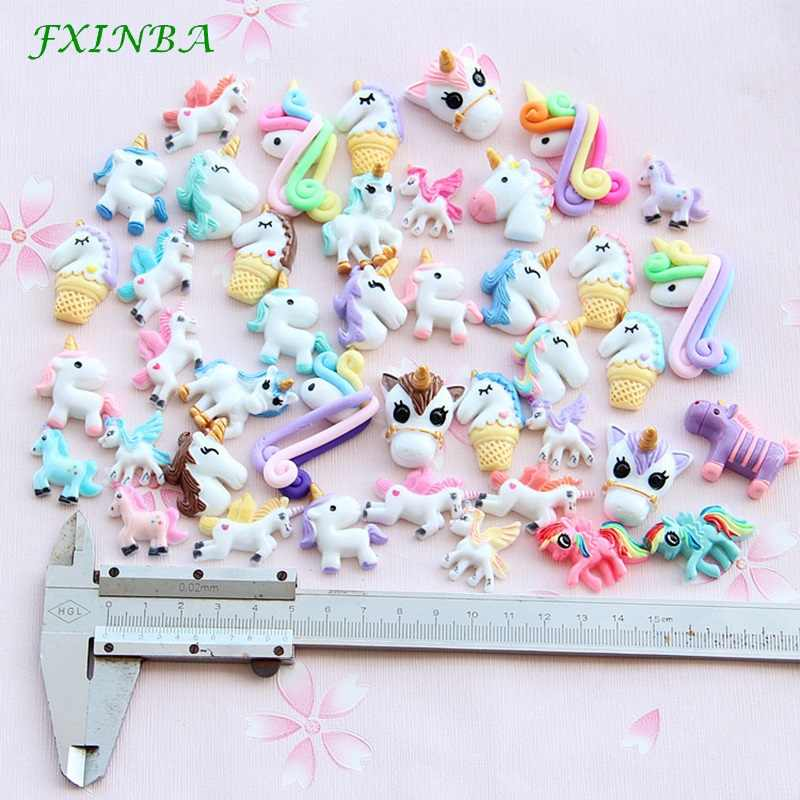 FXINBA 1/3/5/10pcs Unicorn Charms For Slime Filler DIY Ornament Phone Decoration Resin Charms Lizun Mud Clay Slime Supplies Toys