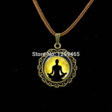 Collier Collares Maxi Necklace Om Yoga Muslim Zen Necklace Mandala Religious Culture Jewelry Henna Buddhism Meditation Pendant