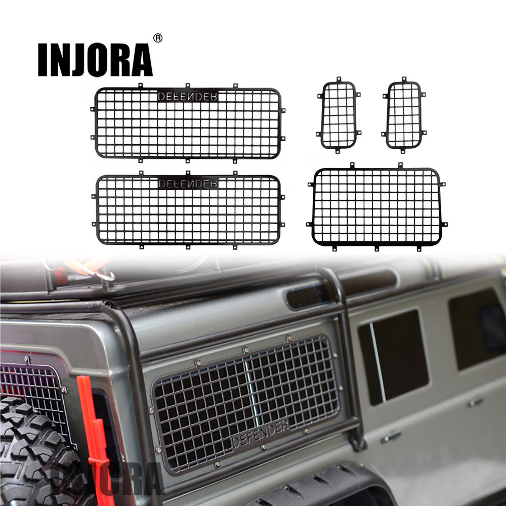 INJORA TRX4 T4 Metal Window Mesh Protective Net with DEFENDER Logo for 1/10 RC Crawler Car Traxxas Trx-4 Trx 4 injora trx4 mud flaps rubber fender with ford sticker for 1 10 rc crawler traxxas trx 4 82046 4 ford bronco ranger xlt