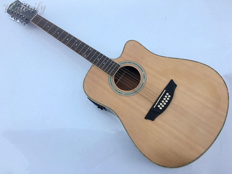 stock 12 string acoustic electric guitar with EQ with tuner in stock china factory custom guitar machine tuner taiwan production of acoustic guitar machine tuner free shipping