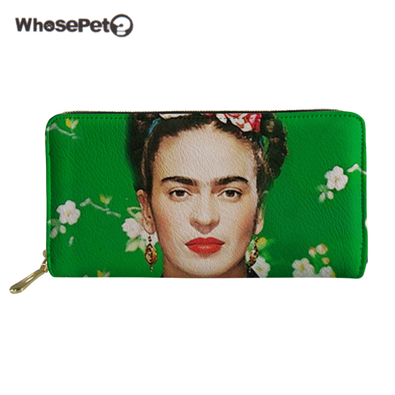 WHOSEPET Women Purse With Zipper Fashion Wallets For Girls Funny Frida Kahlo Print PU Leather Female Cartoon New Money Clutches girls print purse