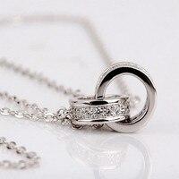 S925 ожерелье стерлингового серебра двойной круг серебро Мода Кристалл ключицы цепи для женщин украшения цена оптовой продажи
