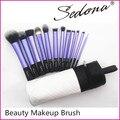 Sedona 12pcs Professional Cosmetic Makeup Brush Set Free Shipping, Purple Brush Set 12pcs with White Cylinder Case