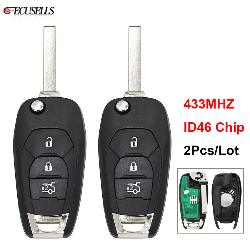 Auto Replacement Parts 2pcs/lot 3 Button Modified Smart Remote Car Key 433mhz Id46 Pcf7941 Chip Blade For Chevrolet Cruze 2014 2015 2016 2017 2018