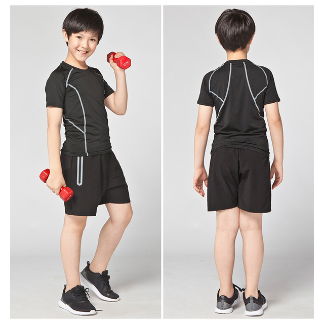 Children Sports body suits tracksuit short sleeve workout clothes stretch tight quick dry training clothing football jerseys