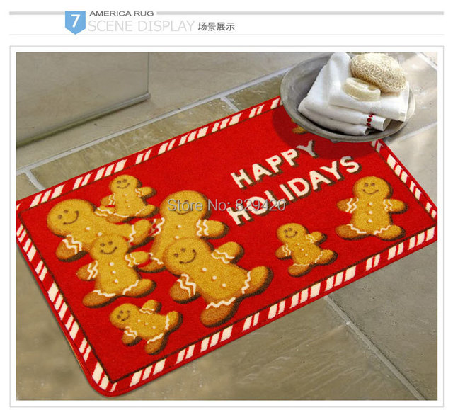 Christmas Carpet Ginger Breadman 45x75cm Mat Kitchen Rug Children Doormat Outdoor Anti Slip Free Shipping C03