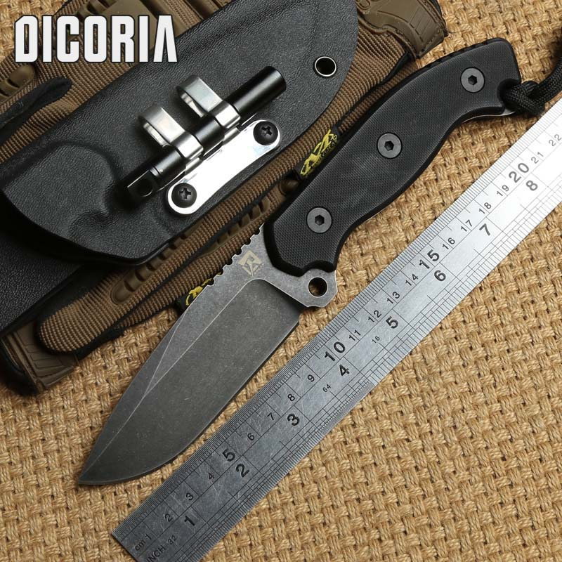 DICORIA straight knife D2 blade G10 handle fixed blade KYDEX Sheath tactical camping hunting outdoors survival knives EDE tool top quality straight knife c21gs blade g10 handle fixed knife outdoor camping hunting tool survival tactical knives