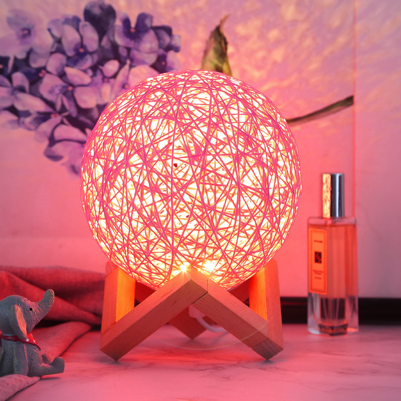 Rattan Ball Table Moon Lamp
