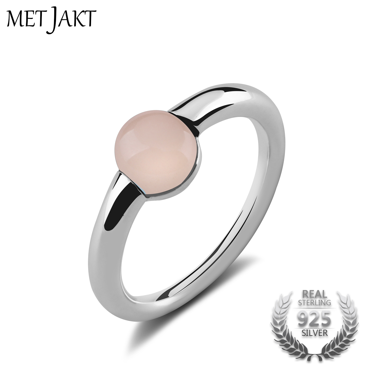 MetJakt Natural Gem Pink Agate Rings Solid 925 Sterling Silver Vintage Jewelry For Women's Party Wedding Engagement Occasion