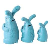 Modern Cartoon Resin Rabbit Family Ornaments Rabbit Figurine Piggy Bank Desktop Crafts Window Decor Gifts Home Decor Accessories