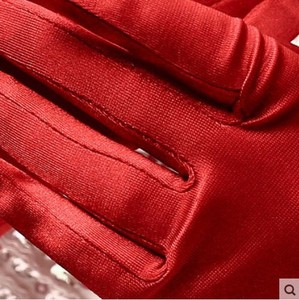 Image 5 - 5pc/lot Short red finger flower girl bridesmaid gloves women lady dancing party performance gloves