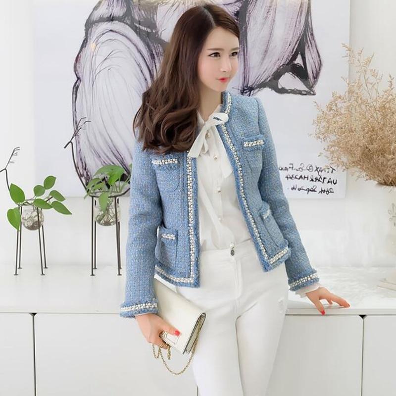 6d84eeeb Aliexpress.com : Buy Zarachiel Blue Tweed Jacket Coat 2019 Autumn Women's  Beading Long Sleeve Woolen Fringed Trim Tassels Pearl Pocket Runway Jacket  from ...