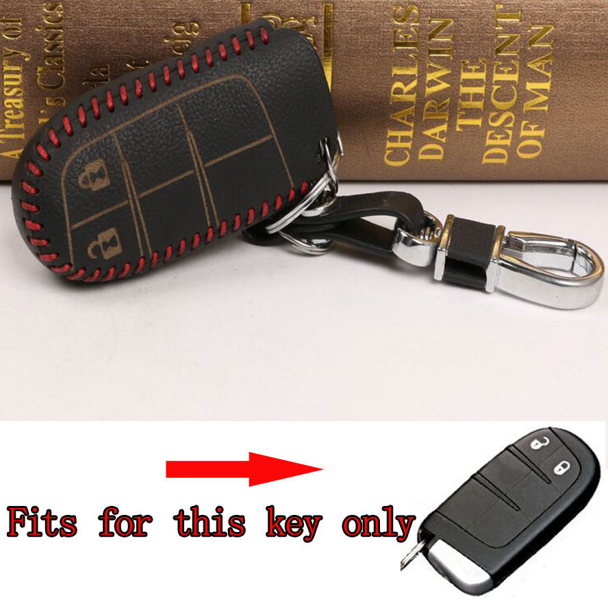 Bbq fuka 2 buttons red thread black leather smart remote keyfob key cover case fob fit for dodge journey with keychain keyring